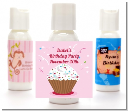 Cupcake Girl - Personalized Birthday Party Lotion Favors