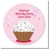 Cupcake Girl - Round Personalized Birthday Party Sticker Labels