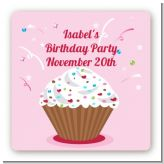Cupcake Girl - Square Personalized Birthday Party Sticker Labels