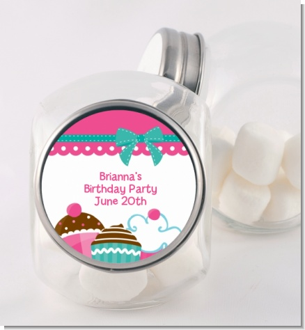 Cupcake Trio - Personalized Birthday Party Candy Jar