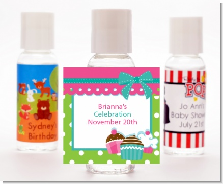 Cupcake Trio - Personalized Birthday Party Hand Sanitizers Favors