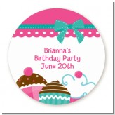 Cupcake Trio - Round Personalized Birthday Party Sticker Labels