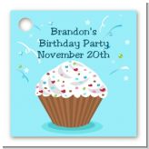 Cupcake Boy - Personalized Birthday Party Card Stock Favor Tags