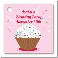 Cupcake Girl - Personalized Birthday Party Card Stock Favor Tags