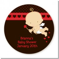 Cupid Baby Valentine's Day - Round Personalized Baby Shower Sticker Labels