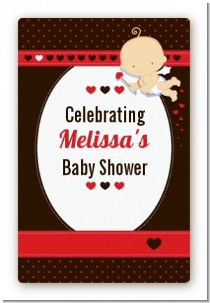 Cupid Baby Valentine's Day - Custom Large Rectangle Baby Shower Sticker/Labels