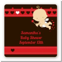 Cupid Baby Valentine's Day - Square Personalized Baby Shower Sticker Labels