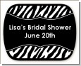 Custom Zebra - Personalized Bridal Shower Rounded Corner Stickers thumbnail
