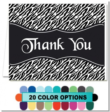 Custom Zebra - Bridal Shower Thank You Cards