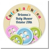Cute As a Button - Round Personalized Baby Shower Sticker Labels