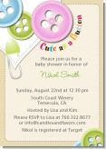 Cute As a Button - Baby Shower Invitations