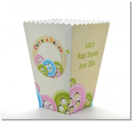 Cute As a Button - Personalized Baby Shower Popcorn Boxes