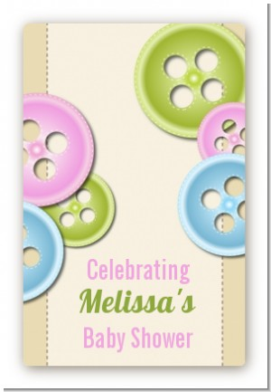 Cute As a Button - Custom Large Rectangle Baby Shower Sticker/Labels
