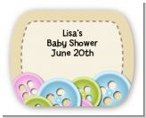 Cute As a Button - Personalized Baby Shower Rounded Corner Stickers