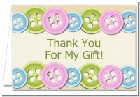 Cute As a Button - Baby Shower Thank You Cards