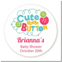 Cute As Buttons - Round Personalized Baby Shower Sticker Labels