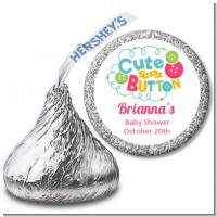 Cute As Buttons - Hershey Kiss Baby Shower Sticker Labels