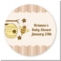 Cute As Can Bee - Round Personalized Baby Shower Sticker Labels