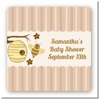 Cute As Can Bee - Square Personalized Baby Shower Sticker Labels