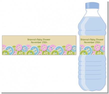 cute as a button baby shower water bottle labels