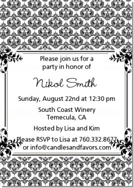 Damask - Birthday Party Invitations