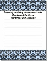 Damask Blue & Black - Baby Shower Notes of Advice