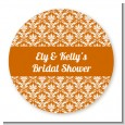 Damask Pattern - Round Personalized Bridal Shower Sticker Labels thumbnail