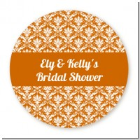 Damask Pattern - Round Personalized Bridal Shower Sticker Labels