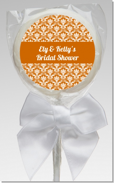 Damask Pattern - Personalized Bridal Shower Lollipop Favors