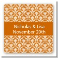 Damask Pattern - Square Personalized Bridal Shower Sticker Labels thumbnail