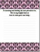 Damask Pink & Black - Baby Shower Notes of Advice