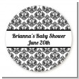 Damask - Round Personalized Baby Shower Sticker Labels thumbnail