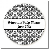 Damask - Round Personalized Baby Shower Sticker Labels
