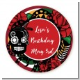 Sugar Skull - Round Personalized Birthday Party Sticker Labels thumbnail