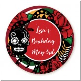 Sugar Skull - Round Personalized Birthday Party Sticker Labels