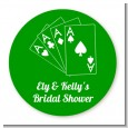 Deck of Cards - Round Personalized Bridal Shower Sticker Labels thumbnail