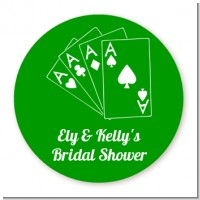 Deck of Cards - Round Personalized Bridal Shower Sticker Labels