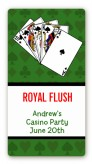 Casino Night Royal Flush - Custom Rectangle Birthday Party Sticker/Labels