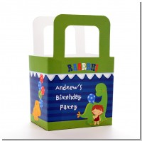 Dinosaur and Caveman - Personalized Birthday Party Favor Boxes