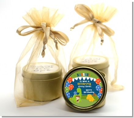 Dinosaur and Caveman - Birthday Party Gold Tin Candle Favors
