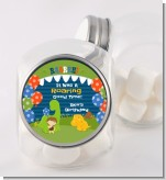Dinosaur and Caveman - Personalized Birthday Party Candy Jar