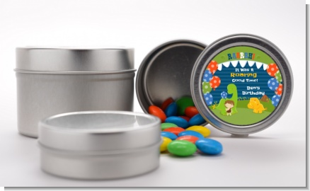 Dinosaur and Caveman - Custom Birthday Party Favor Tins