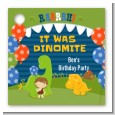 Dinosaur and Caveman - Personalized Birthday Party Card Stock Favor Tags thumbnail
