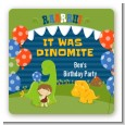 Dinosaur and Caveman - Square Personalized Birthday Party Sticker Labels thumbnail
