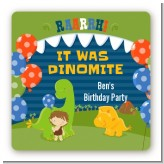 Dinosaur and Caveman - Square Personalized Birthday Party Sticker Labels