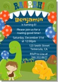 Dinosaur and Caveman - Birthday Party Invitations