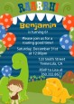 Dinosaur and Caveman - Birthday Party Invitations thumbnail