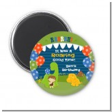 Dinosaur and Caveman - Personalized Birthday Party Magnet Favors