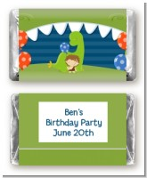 Dinosaur and Caveman - Personalized Birthday Party Mini Candy Bar Wrappers
