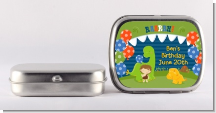 Dinosaur and Caveman - Personalized Birthday Party Mint Tins